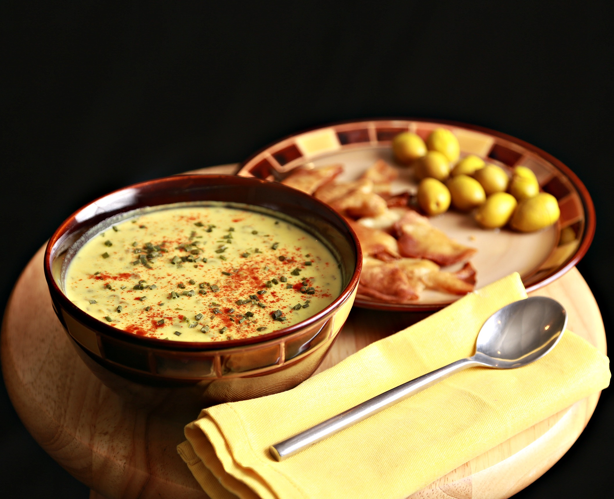Arabic Yogurt soup with lentils and turmeric