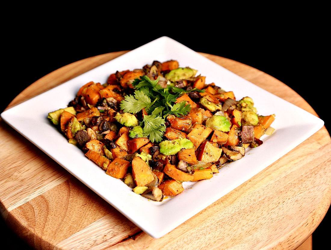 Sauteed sweet potato with avocado