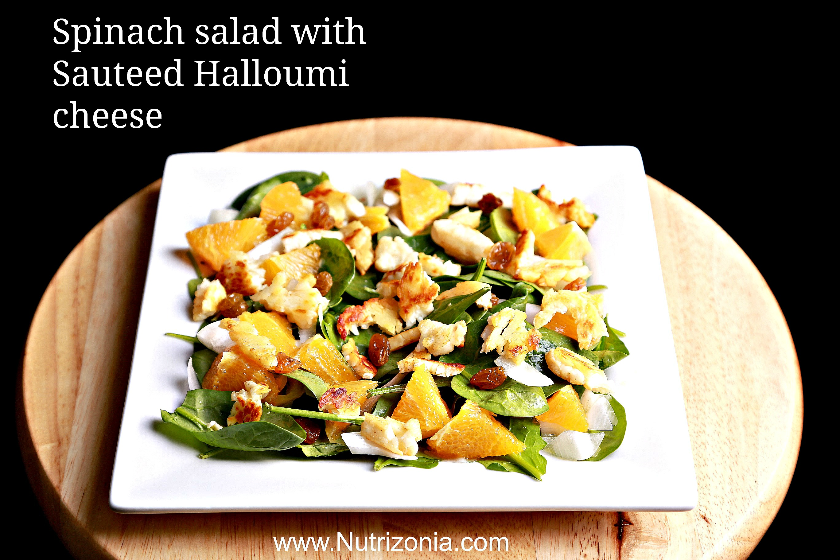 Spinach salad with Sauteed Halloumi cheese