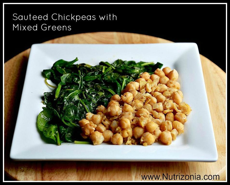 Sauteed Chickpeas with Mixed greens