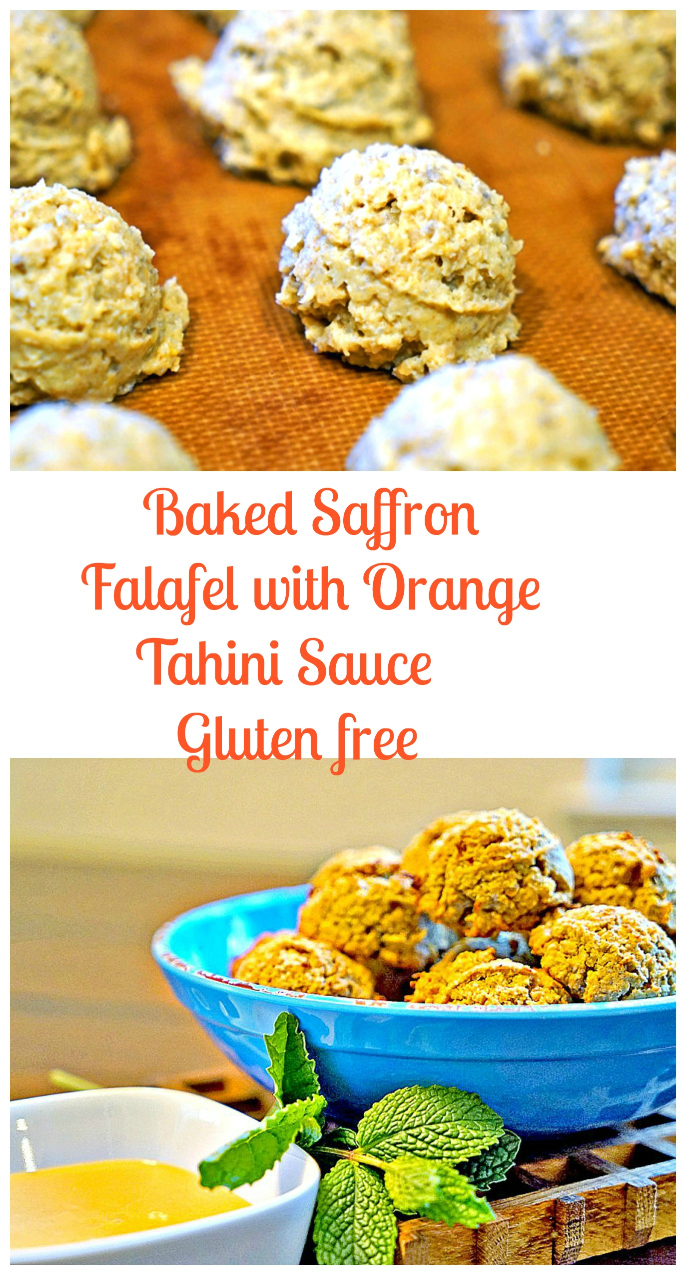 Baked Saffron Falafel with Orange Tahini Sauce 2 #glutenfree # ...