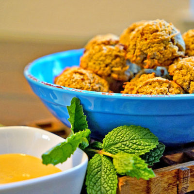 Baked Saffron Falafel with Orange Tahini Sauce