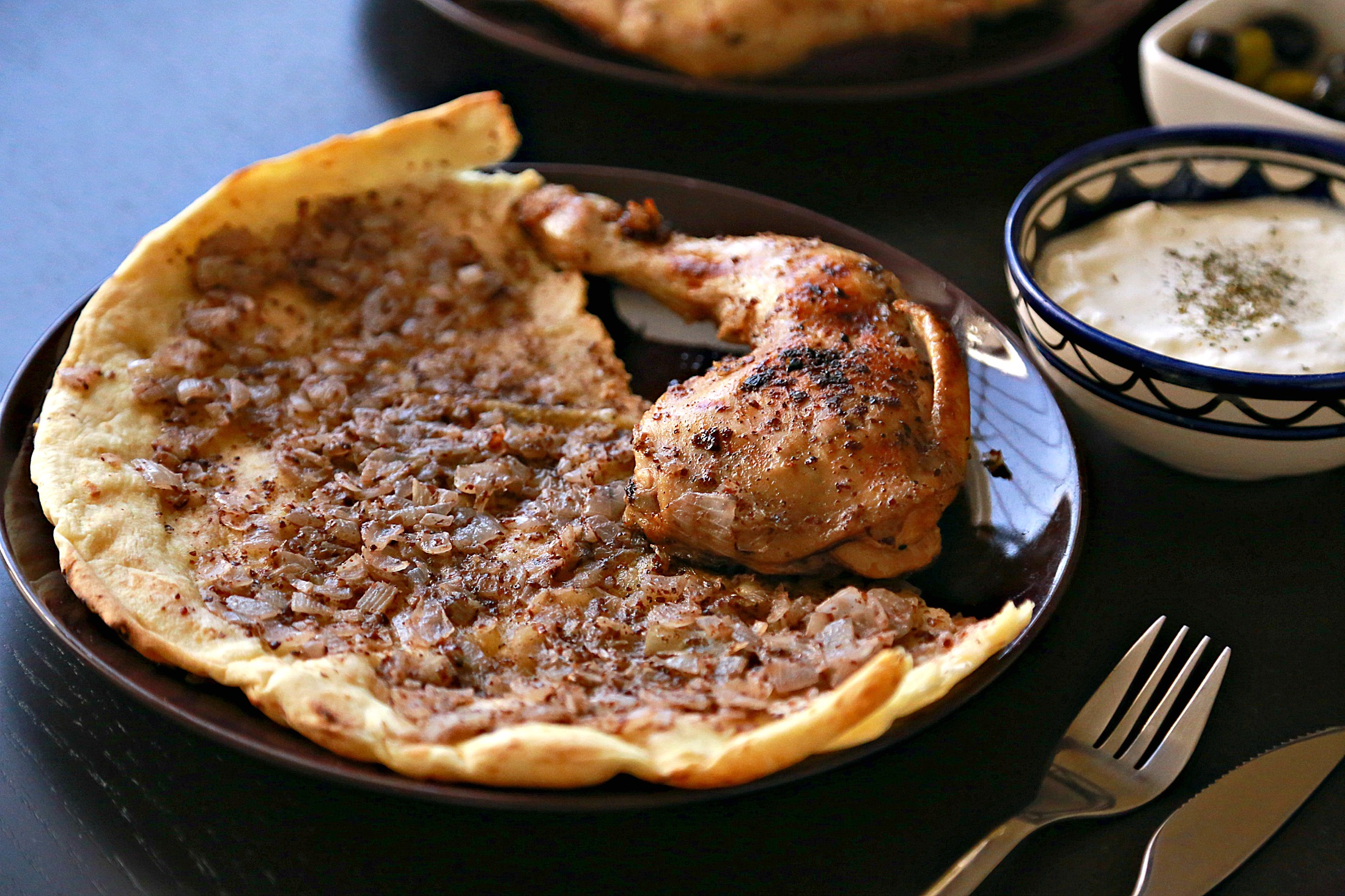 Roasted Chicken with Sumac over Taboon Bread (Musakhan ...