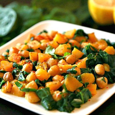 Sweet potato, Chickpeas, with Spinach Dry Curry