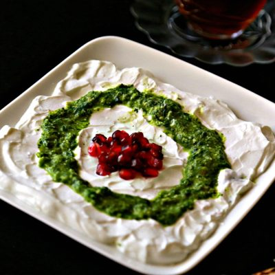 Labneh with Mint Pesto and Pomegranate