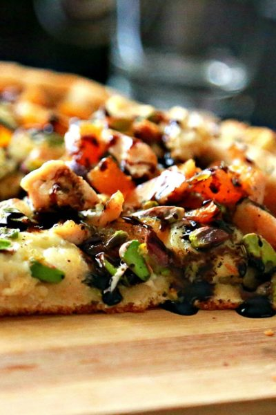 Whole Wheat Brie Chicken Pizza with Dried Apricots