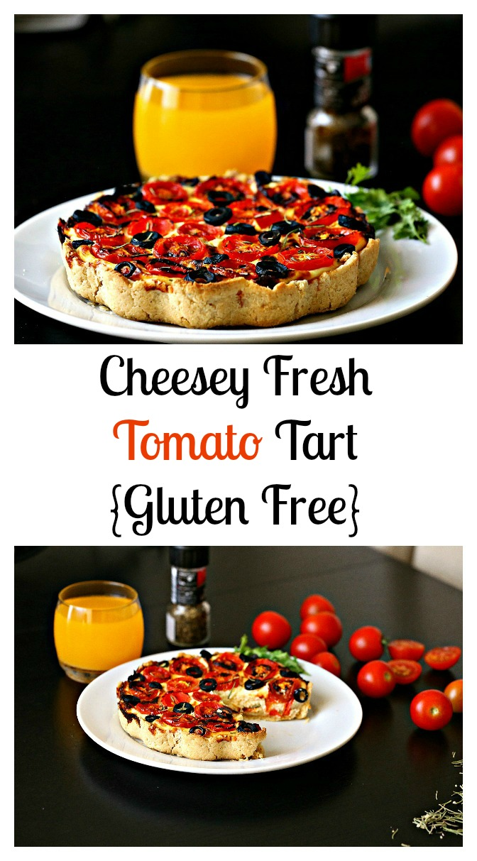 A scrumptious savory tomato tart, that is made with gluten free crust, and light filling of ricotta cheese that is sharpened with Parmesan cheese.