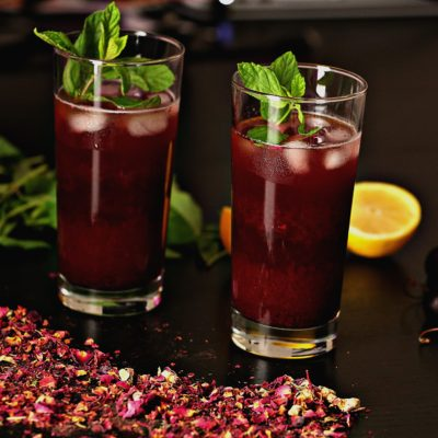 Iced Cherry Hibiscus Tea with Mint
