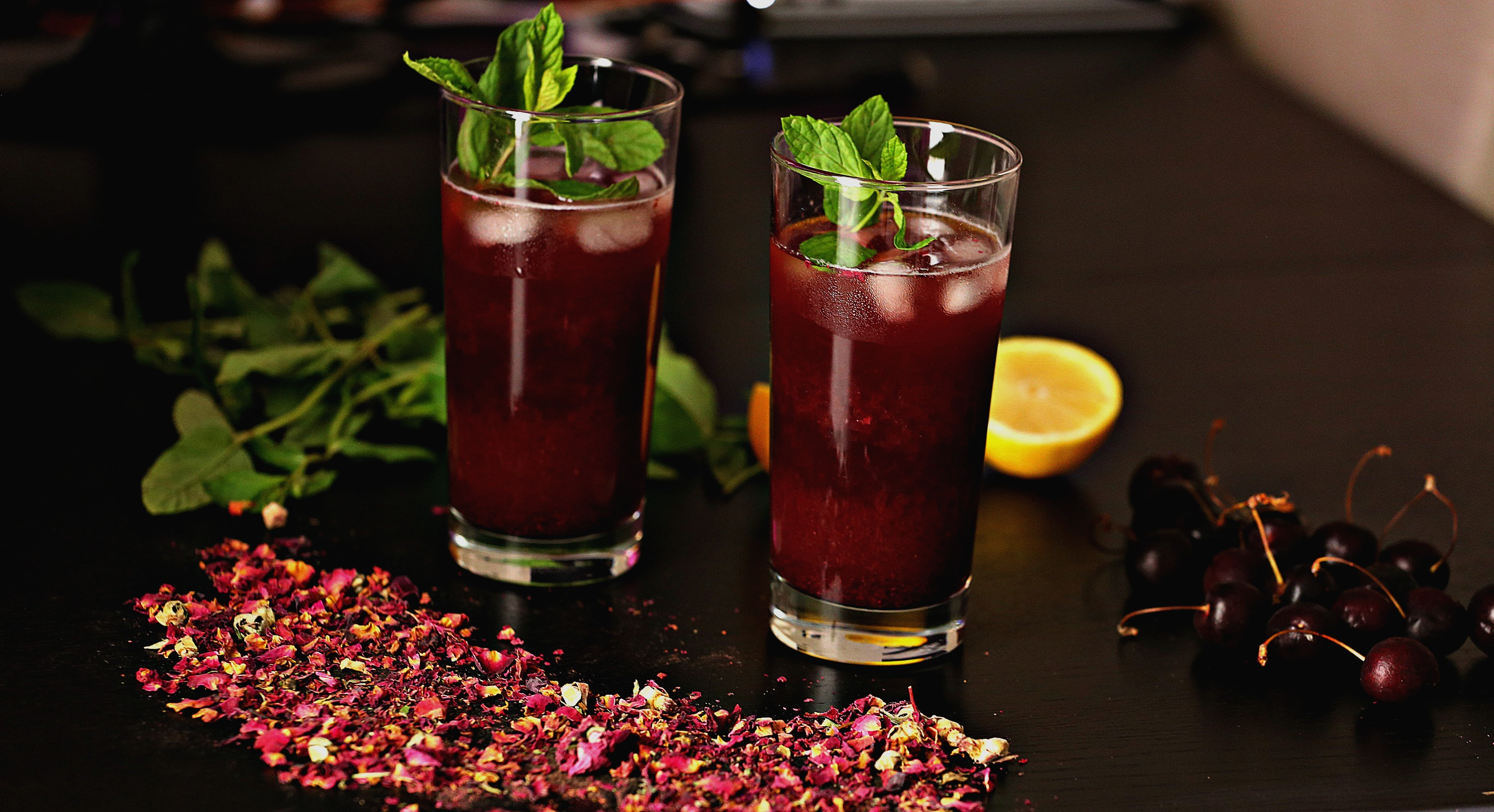 Iced cherry hibiscus tea with mint prep time izmirmasajfo
