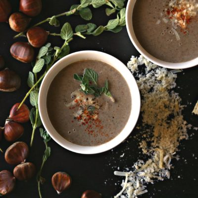 Chestnut soup with Brie and Thyme