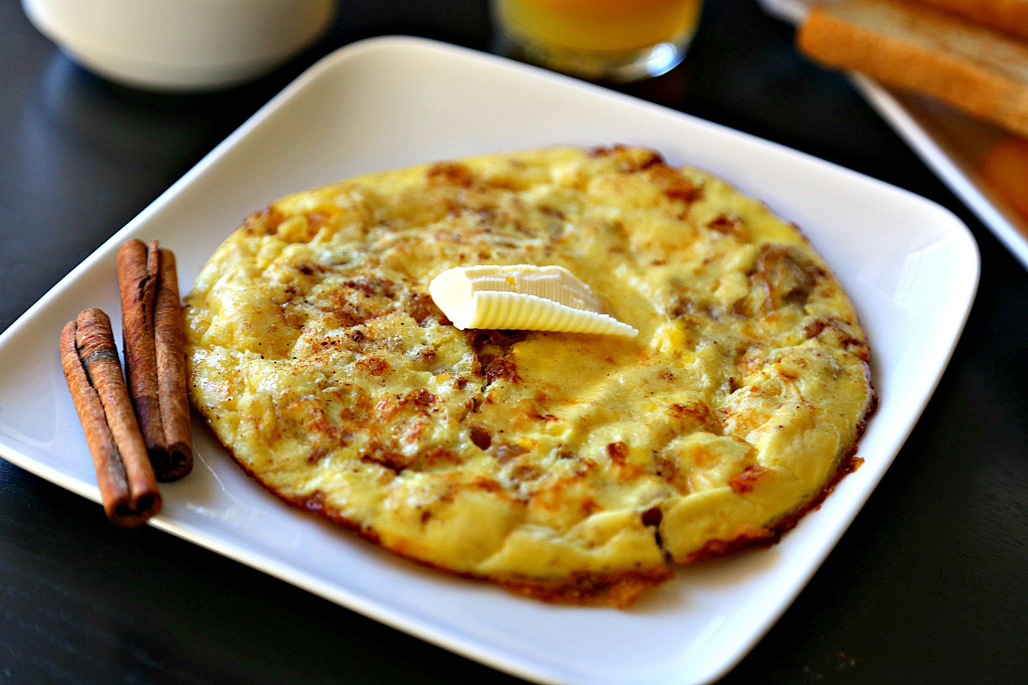 sweet-omelet-with candied ginger close-up-1