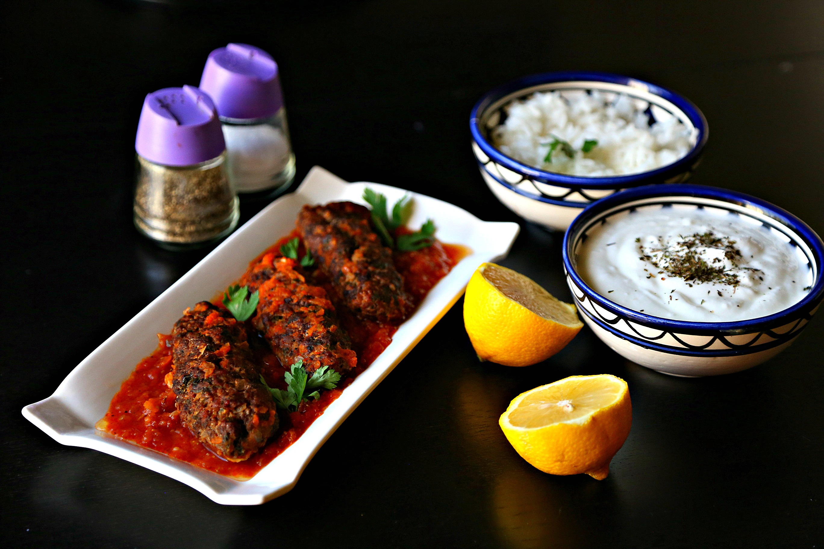 Turkish kofta with rice and yogurt