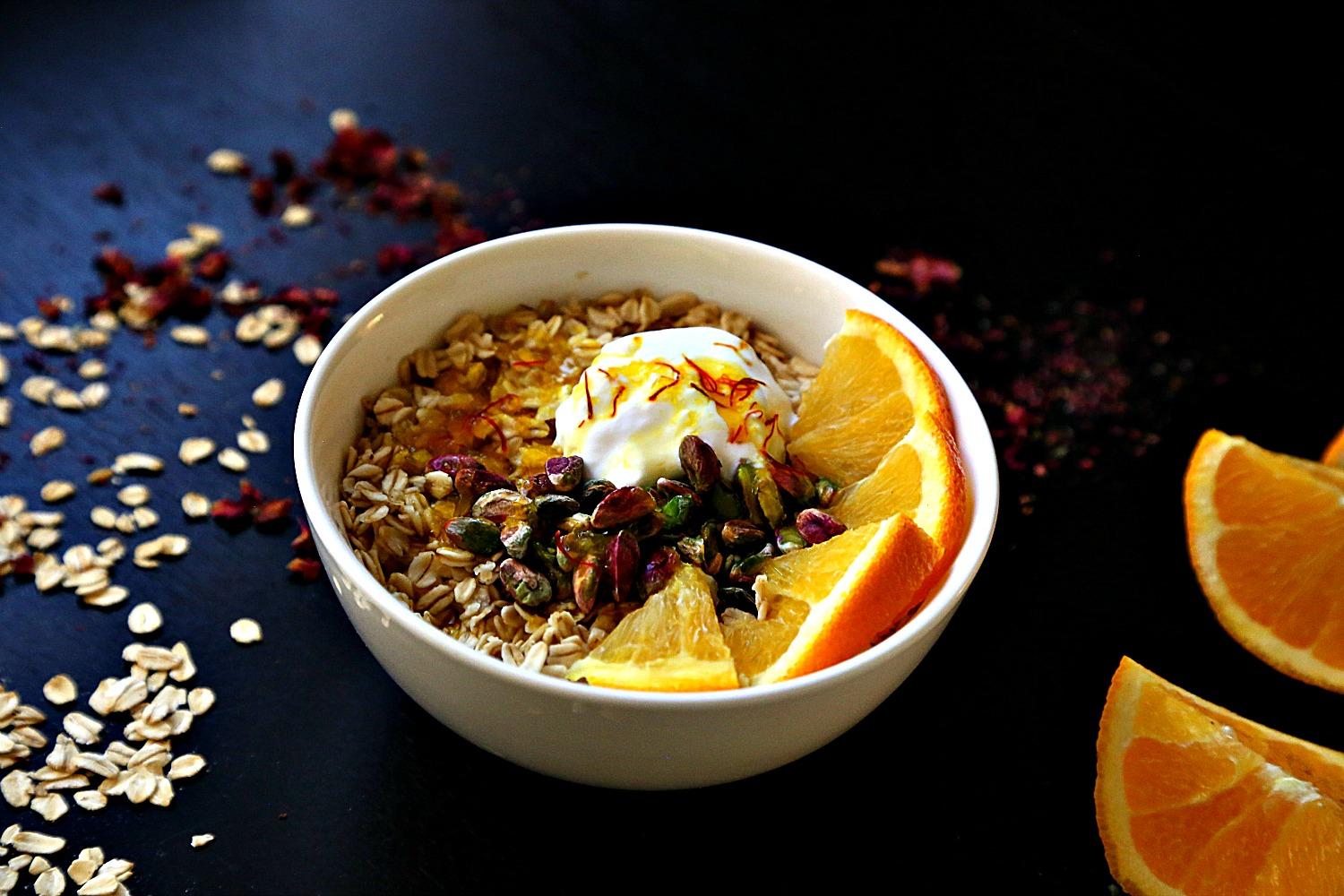 Coconut oatmeal with saffron orange syrup