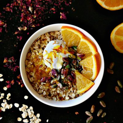 Coconut Oatmeal with Orange Saffron Syrup