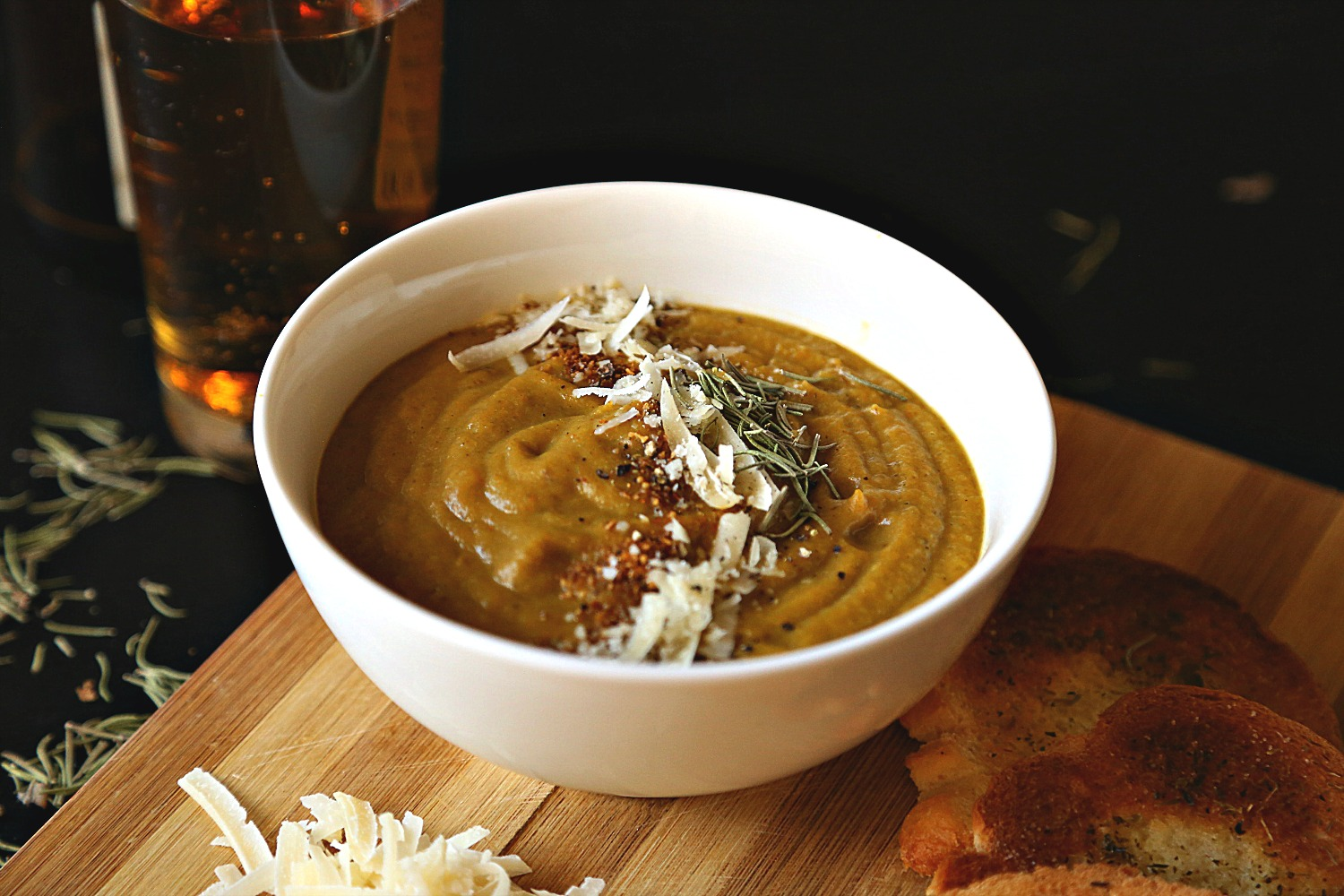 Roasted Vegetables Soup with Thai Yellow Curry Paste