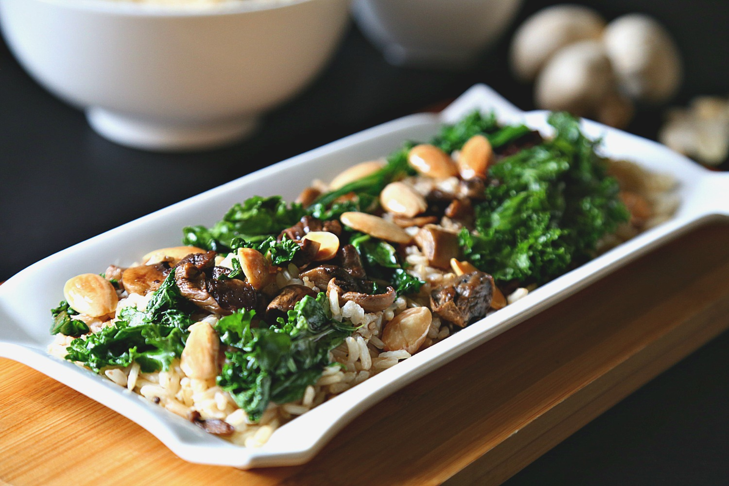 Brown Rice with Sauteed Mushrooms and Kale