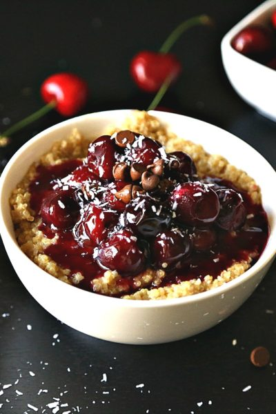 Cherry Compote with Rose Water over Coconut Quinoa