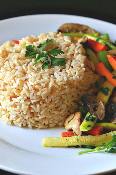 Brown Rice with Lemon Grass and Sauteed Veggies
