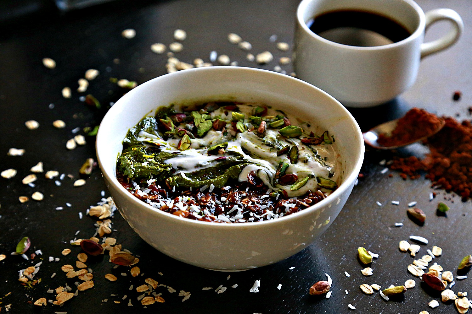 Pistachio Butter with Dark Chocolate Oatmeal