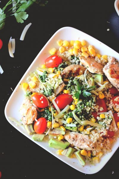 Grilled Chicken Salad with Cilantro Pesto