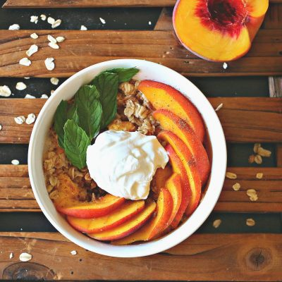 Easy Peach Oatmeal with Coconut Cream